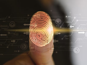Businessman login with fingerprint scanning technology. fingerprint to identify personal, security system concept