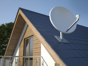 Satellite dish on roof, 3D illustration